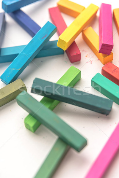 Pile of colorful pastel crayon chalks Stock photo © deandrobot