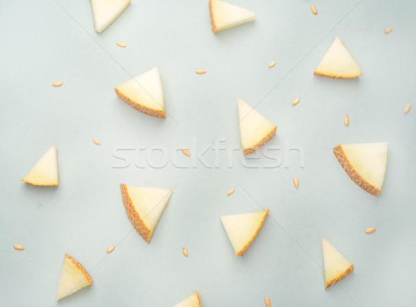 Pezzi melone blu diverso triangolo giallo Foto d'archivio © deandrobot