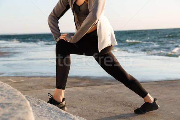 Fotó sport testmozgás vízpart lány természet Stock fotó © deandrobot