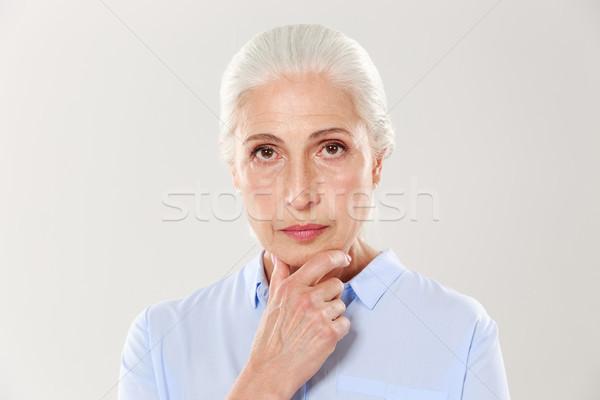 Portret poważny piękna staruszka dotknąć Zdjęcia stock © deandrobot