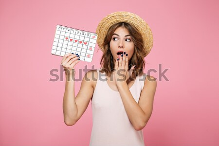 Portrait of an excited pretty girl in hat pointing finger Stock photo © deandrobot