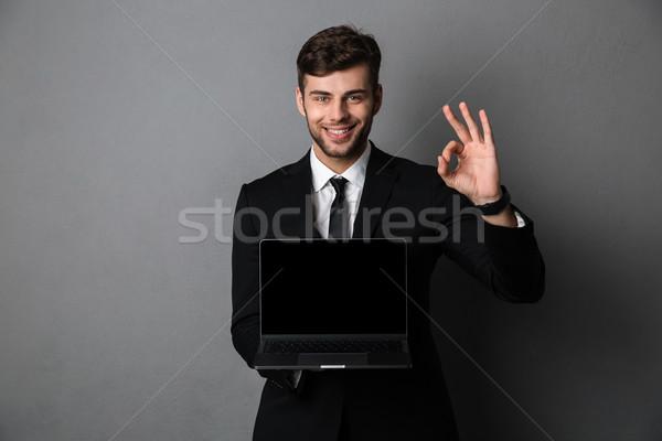 Photo stock: Heureux · affaires · écran · ordinateur · portable · photos
