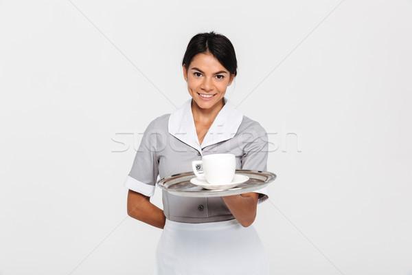 Portret młodych uśmiechnięty kobiet kelner Zdjęcia stock © deandrobot