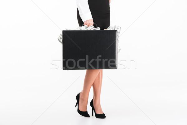 Portret zakenvrouw aktetas vol Stockfoto © deandrobot