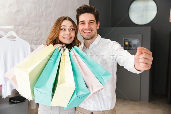 Stock fotó: Boldog · fiatal · pér · vásárlás · ruházat · együtt · ruházat