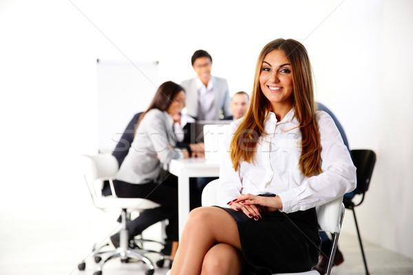 Işkadını oturma ofis koltuğu iş toplantısı ofis çalışmak Stok fotoğraf © deandrobot