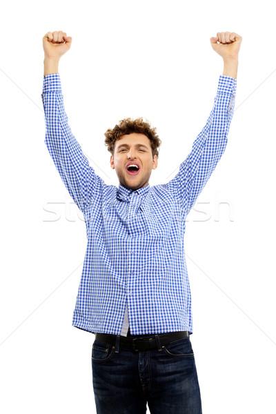 Glimlachend man opgeheven handen omhoog hand glimlach Stockfoto © deandrobot