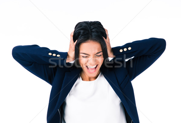 Businesswoman covering her ears Stock photo © deandrobot