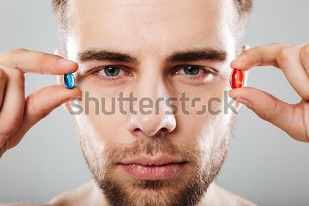 Férfi szemöldök meztelen szem arc egészség Stock fotó © deandrobot