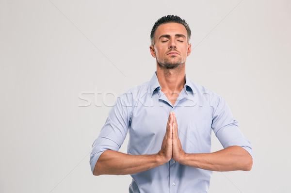 бизнесмен молиться портрет красивый серый Сток-фото © deandrobot