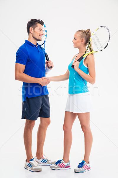 ストックフォト: 2 · テニス · プレーヤー · ハンドシェーク