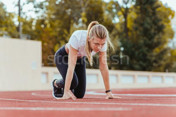 Stockfoto: Vrouw · permanente · start · positie · lopen · mooie