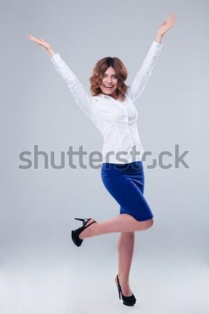 Portret uśmiechnięty cute kobieta sukienka Zdjęcia stock © deandrobot