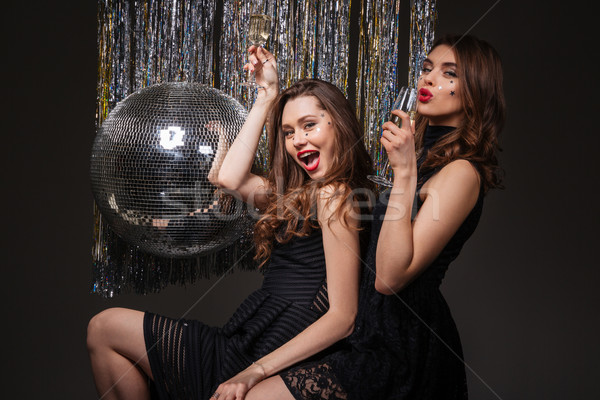 Dwa radosny młodych kobiet pitnej szampana Zdjęcia stock © deandrobot