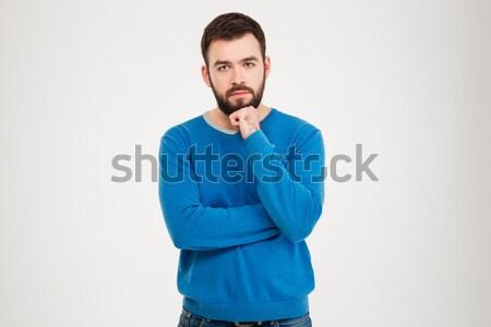 Szomorú férfi áll izolált fehér depresszió Stock fotó © deandrobot