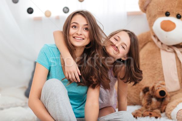 2 かわいい 面白い 姉妹 演奏 ストックフォト © deandrobot