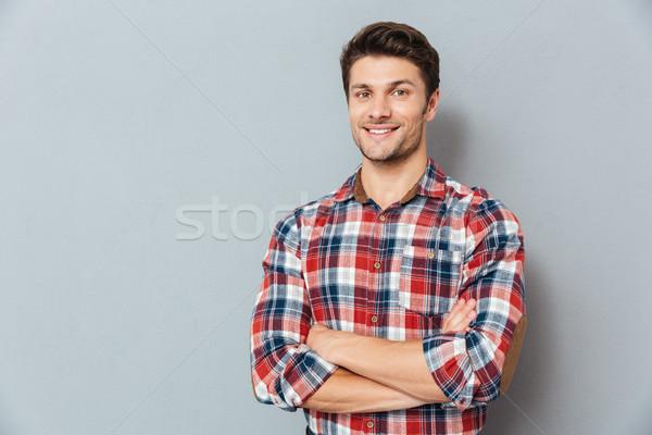 Foto stock: Retrato · hombre · armas · doblado · gris · feliz