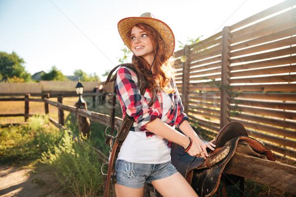 Gelukkig vrouw zadel paardrijden paard Stockfoto © deandrobot