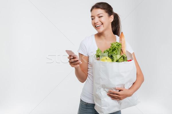 Model gıda telefon paket stüdyo yalıtılmış Stok fotoğraf © deandrobot