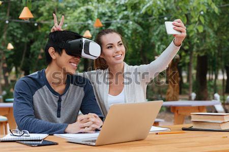 カップル バーチャル 現実 眼鏡 屋外 ストックフォト © deandrobot
