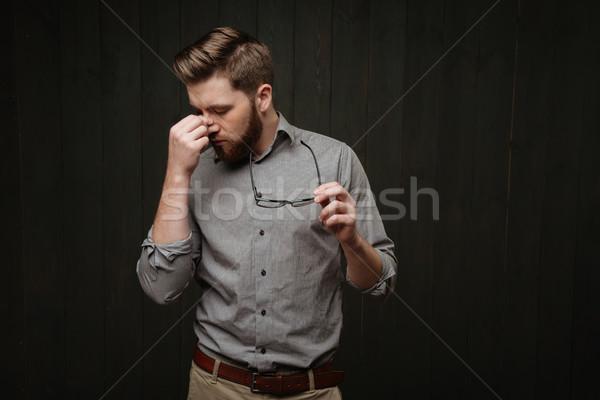 портрет устал исчерпанный бородатый человека Сток-фото © deandrobot