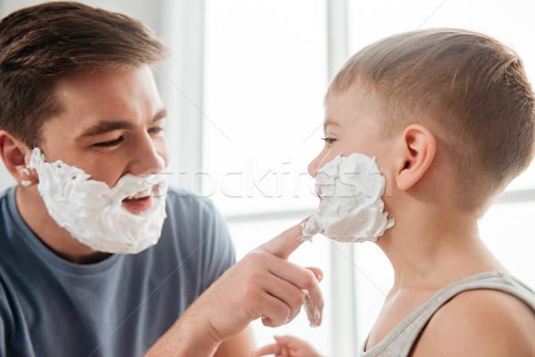 élégant père en fils mousse photos visages Photo stock © deandrobot