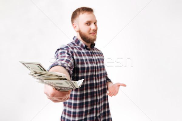 あごひげを生やした 男 シャツ お金 カメラ ストックフォト © deandrobot