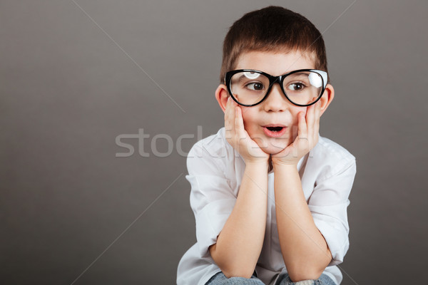 Surprised little boy in glasses sitting with hands on cheeks Stock photo © deandrobot