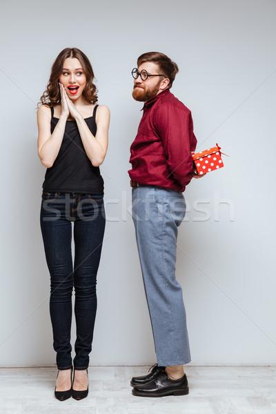 Függőleges kép férfi stréber ajándékok ajándék Stock fotó © deandrobot