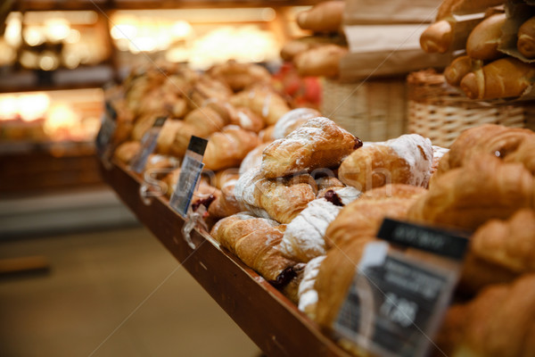 Dulce croissants supermercado panadería imagen alimentos Foto stock © deandrobot