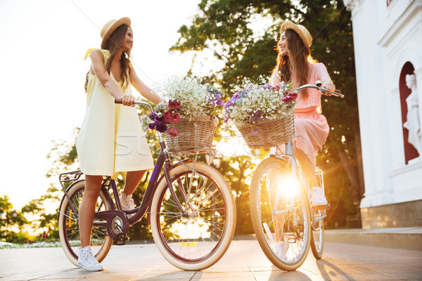 Young smiling ladies outdoors on bicycles. Looking aside. Stock photo © deandrobot