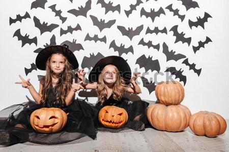 Stok fotoğraf: Iki · güzel · deri · halloween