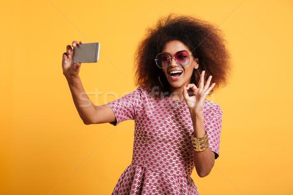 портрет счастливым афро американский Сток-фото © deandrobot