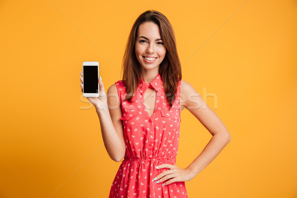 Smiling brunette woman in dress with arm on hip Stock photo © deandrobot