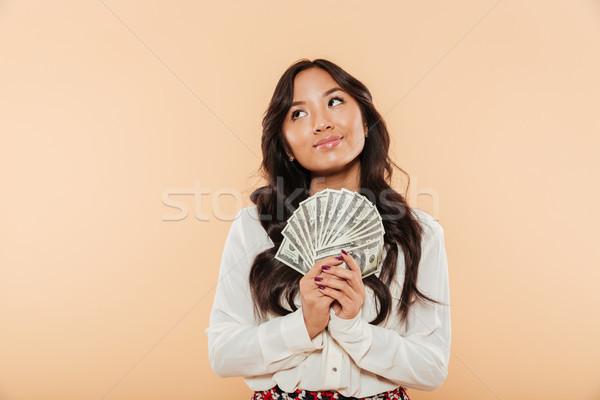 портрет брюнетка азиатских женщины Сток-фото © deandrobot