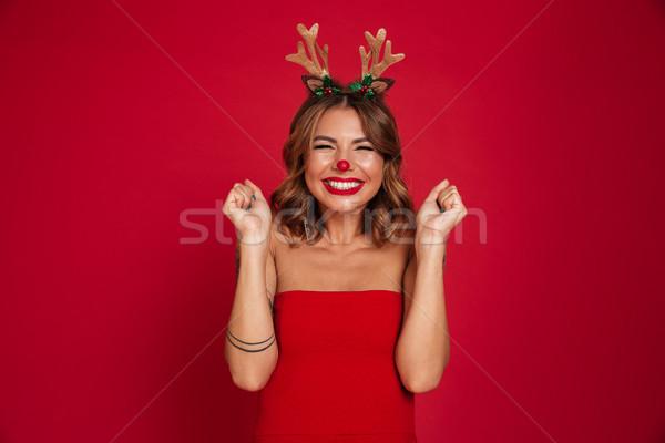 Zdjęcia stock: Portret · podniecony · uśmiechnięty · dziewczyna · christmas