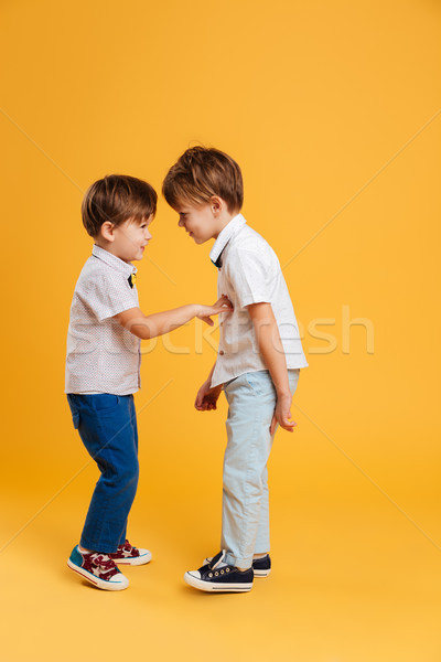 Drôle peu enfants frères isolé jaune Photo stock © deandrobot