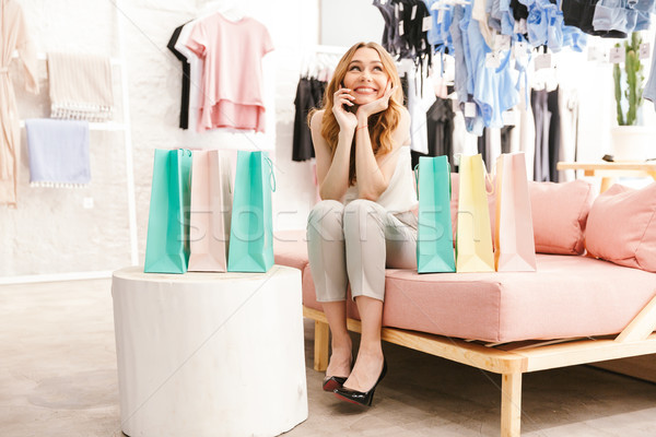 Foto stock: Sonriendo · sesión · ropa · tienda