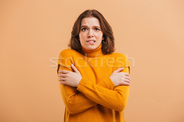 Portrait of a frozen young woman in sweater Stock photo © deandrobot