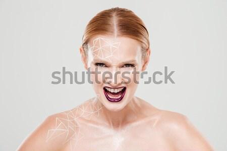 Moda portret topless szczęśliwy kobieta makijaż Zdjęcia stock © deandrobot