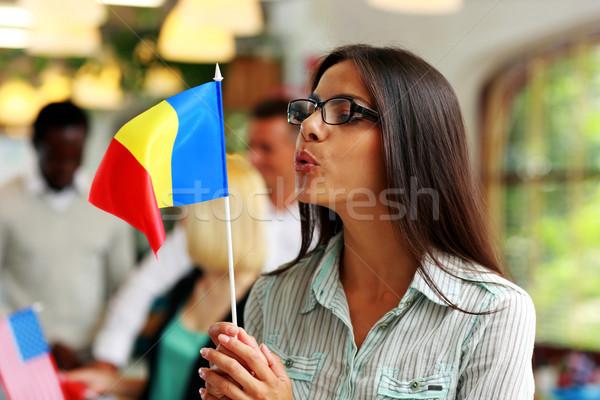 Femme d'affaires verres pavillon Roumanie fille Photo stock © deandrobot