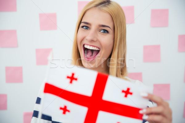 девушки Грузия флаг смеясь Сток-фото © deandrobot