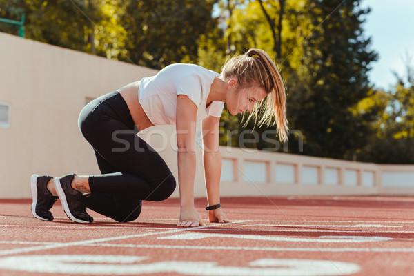 Vrouw start positie lopen portret sport Stockfoto © deandrobot