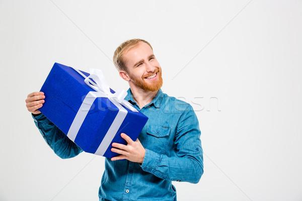 Heureux homme barbe présents Photo stock © deandrobot