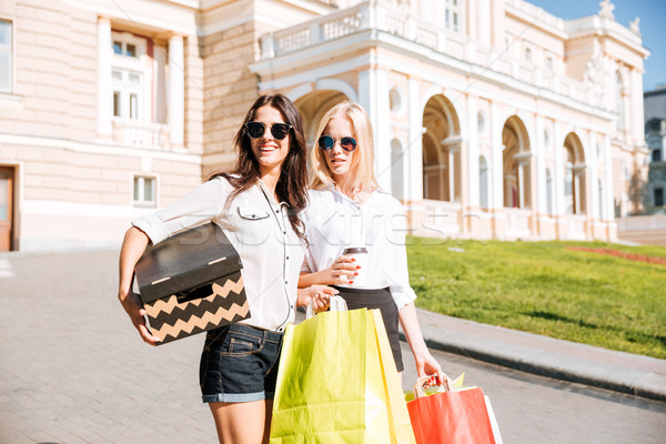 Two attractive girls standing with shopping bags on the street Stock photo © deandrobot