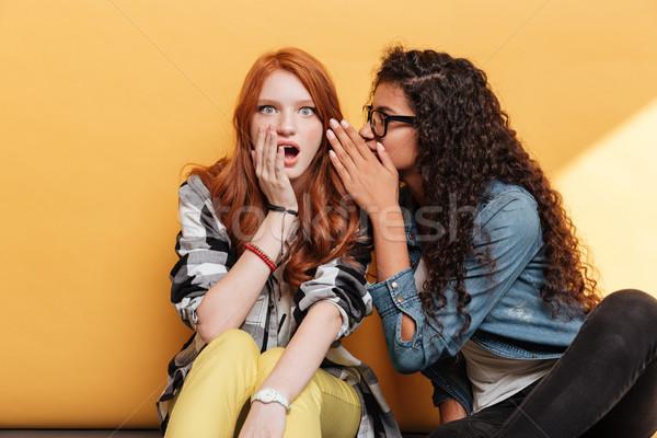 Deux jeunes femmes parler secrets jaune amis Photo stock © deandrobot