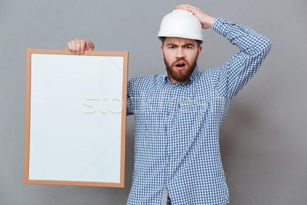 Confusi barbuto builder copia spazio bordo Foto d'archivio © deandrobot