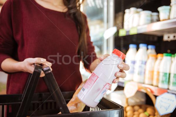 Femme panier achat lait produit épicerie Photo stock © deandrobot