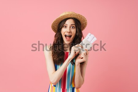 Happy model with macaroons Stock photo © deandrobot