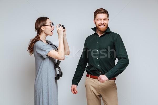 Femminile nerd foto barbuto uomo Foto d'archivio © deandrobot